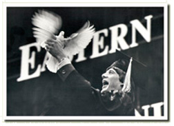 Michigan magician, Jeff Wawrzaszek received national coverage when he magically changed his diploma into a dove. Circa 1974 Eastern Michigan University.
