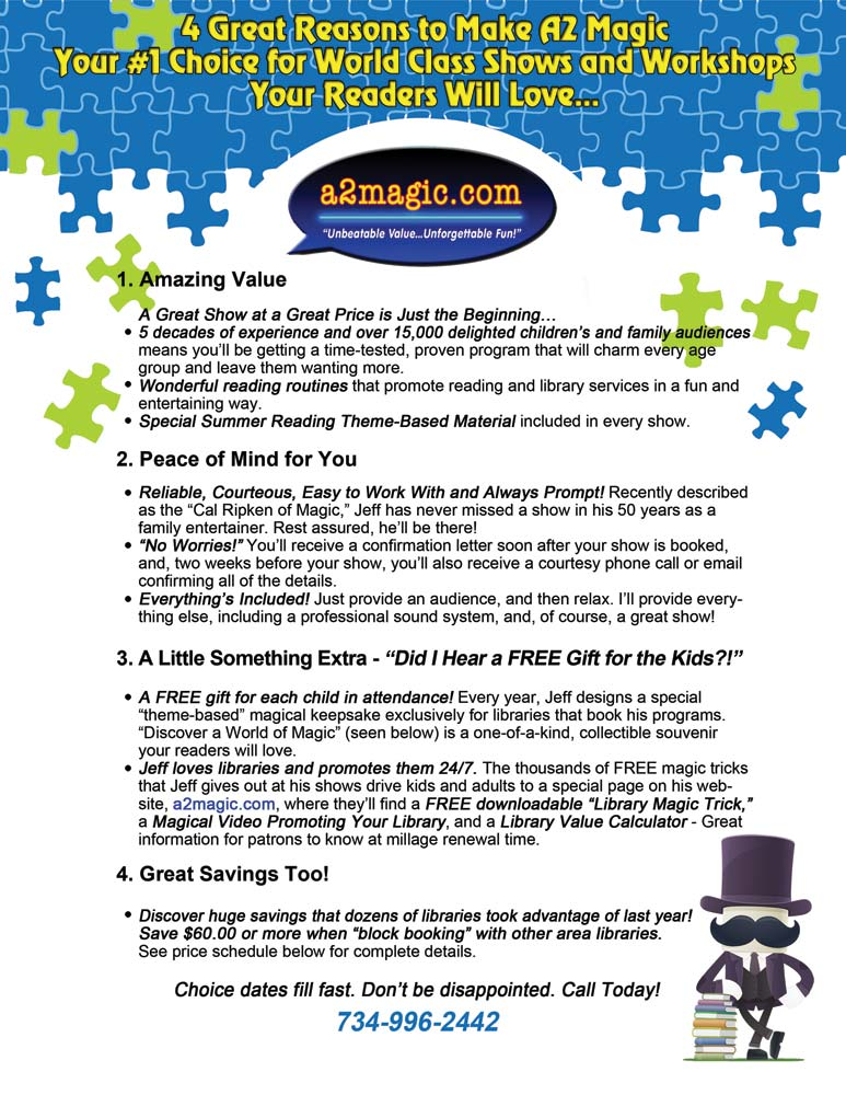 Build a Better World Summer Reading Program Magic Show from  a2magic.com